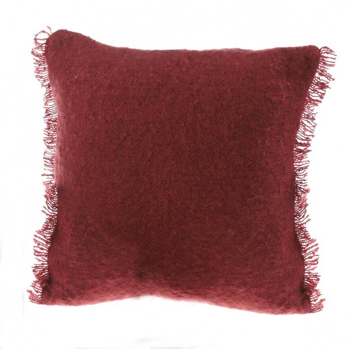 Coussin effet laineux à franges (Ecru)