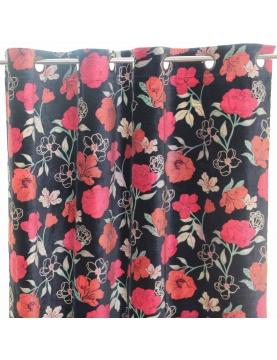 Rideau en velours avec motif fleuri