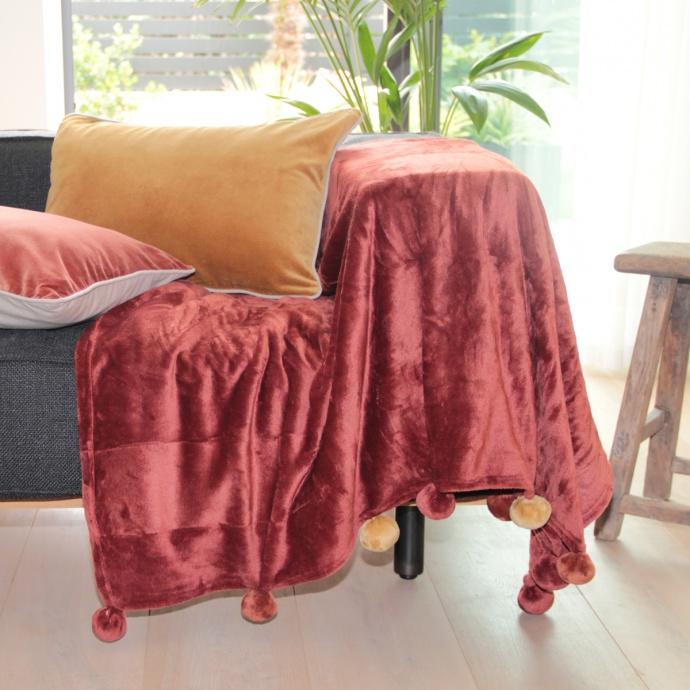 Plaid en velours à pompons colorés (Terre Rouge)