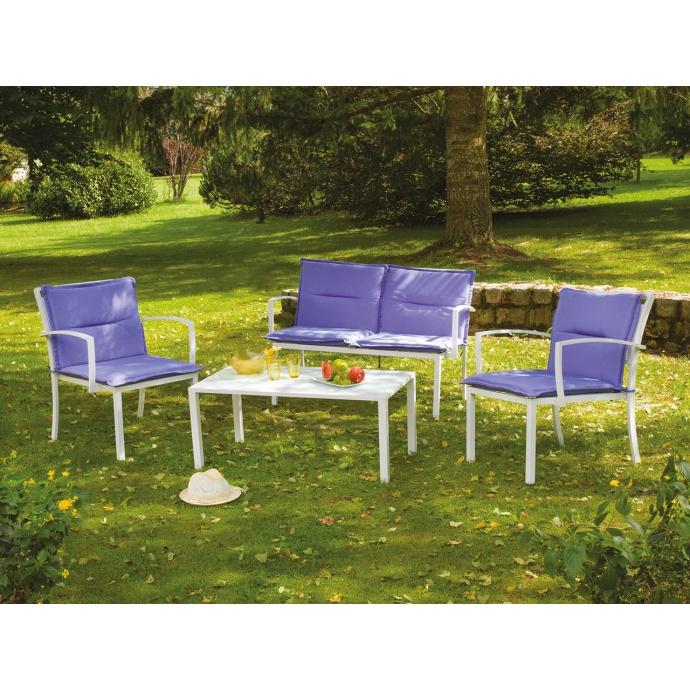 Salon de Jardin avec Coussins  (Bleu)