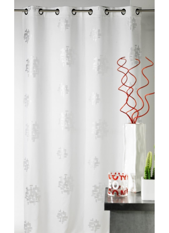 Rideau d'ameublement imprimés motifs Argent (Blanc)