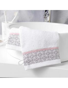 Lot de 2 gants de toilette avec jacquard art déco