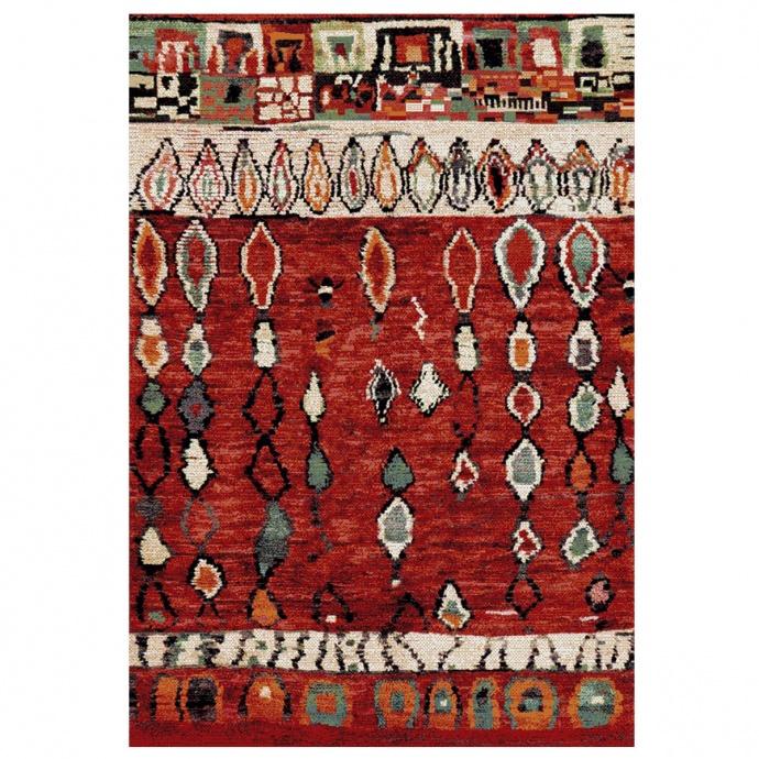 Tapis chaleureux et ethnique (Rouge)