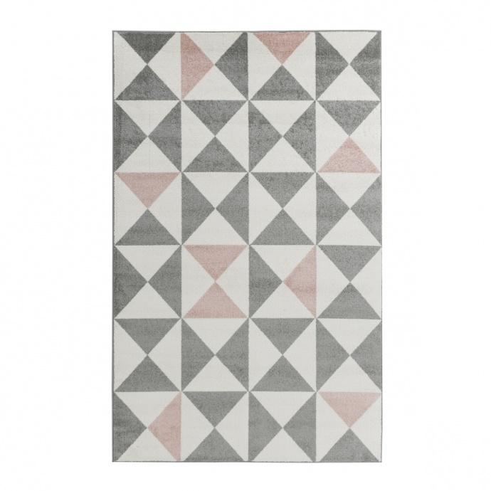 Tapis à triangles tricolores (Rose)