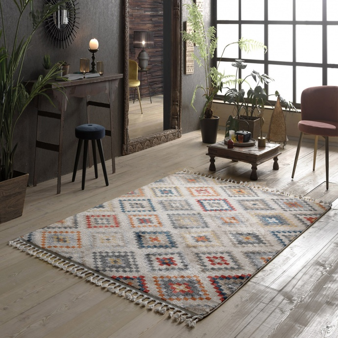 Tapis ethnique à franges ( Multicolore)