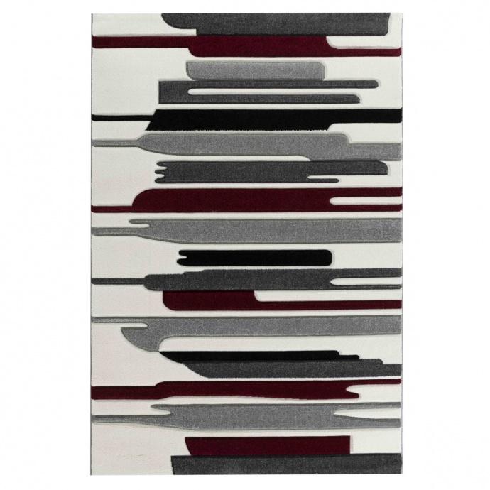 Alfombra estampado lineales (Rojo)