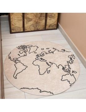 Tapis rond carte du monde