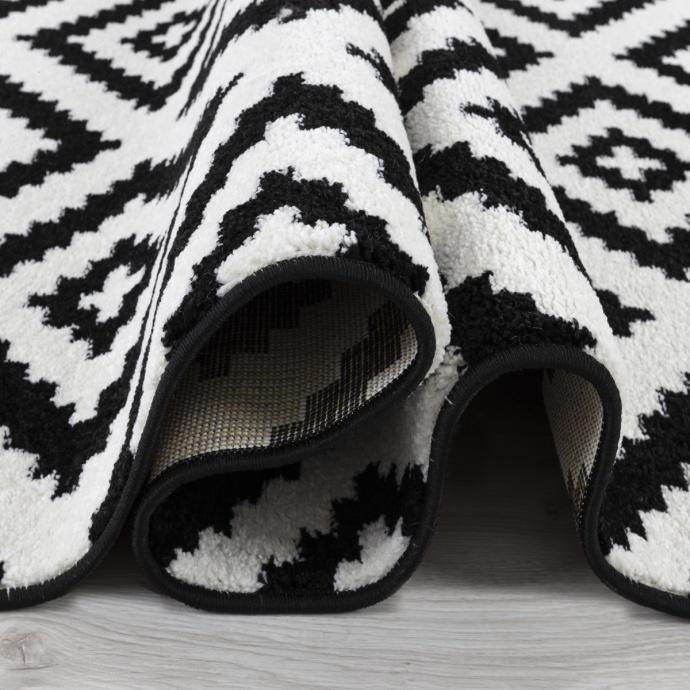 Tapis géométrique bicolore (Noir)