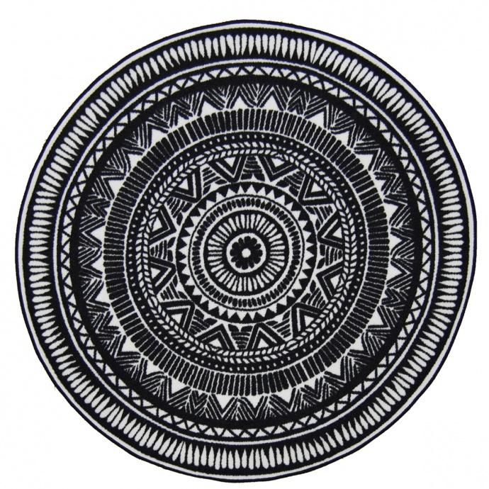 Tapis rond à motifs indous (Noir)