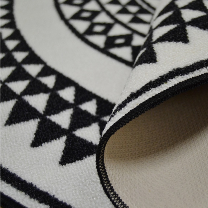Tapis rond et ethnique en noir et blanc (Noir)