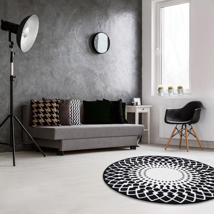 Tapis rond noir & blanc imprimé rosaces  (Noir)