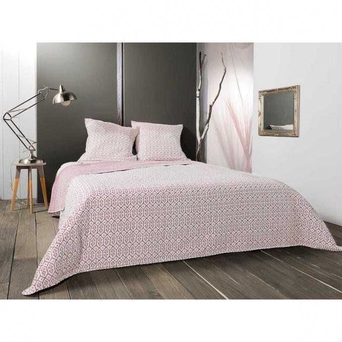 Jeté de lit à motifs géométriques (Rose)