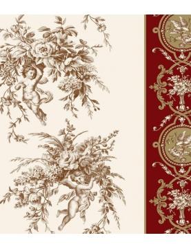 Tissu imprimé angelots et bouquets foisonnants