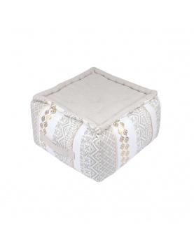 Pouf cube à impressions ethniques et dorées