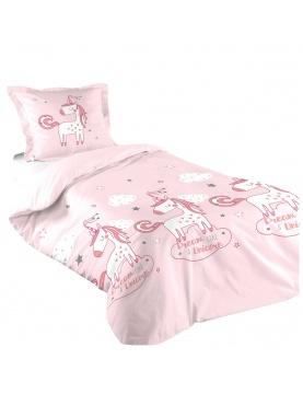 Parure de lit fillette imprimée licorne