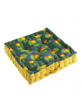 Coussin de sol imprimé feuillages et toucan