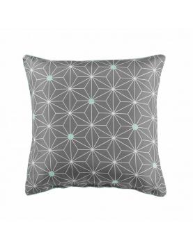 Coussin passepoilé à motifs géométriques