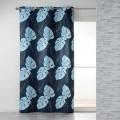 Rideau en coton imprimé feuilles tropicales (Bleu)