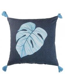 Coussin à pompons en coton à feuille tropicale
