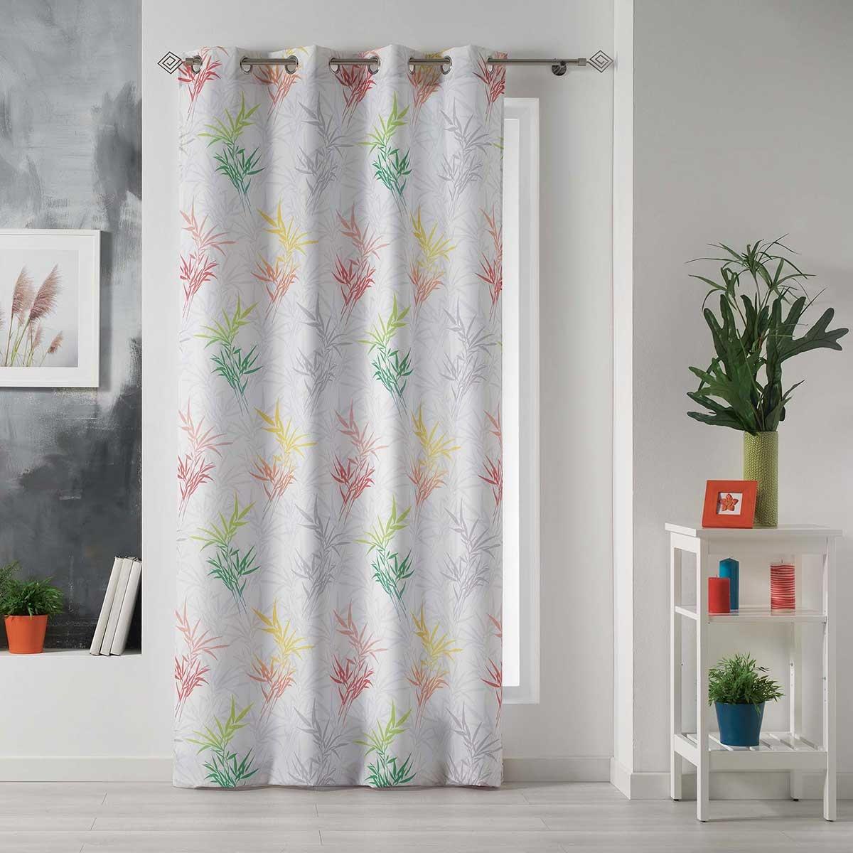 Rideau imprimé bambous multicolores ( Multicolore)