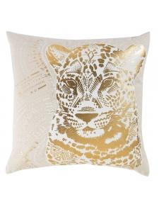 Coussin déhoussable imprimé tête de tigre or