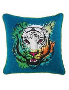Coussin déhoussable et passepoilé imprimé tigre