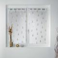 Paire vitrages droits sablés imprimés et métallisés (Blanc/Or)