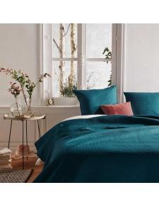 Couvre-lit et ses 2 taies assorties en bleu canard