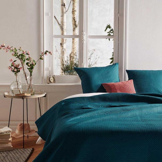 Couvre-lit et ses 2 taies assorties en bleu canard (Canard)