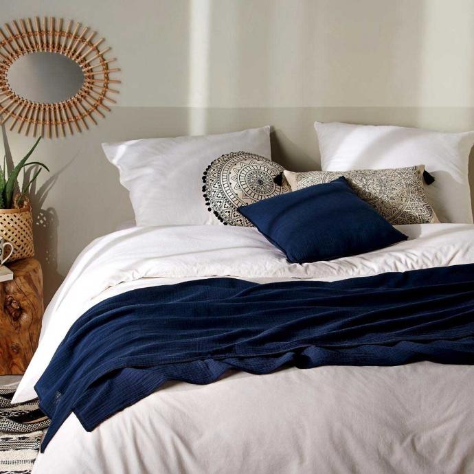 Jeté de lit avec surjet noir (Bleu)