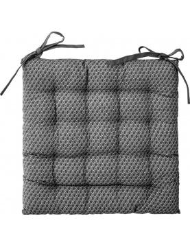 Galette de chaise imprimée et matelassée à nouettes