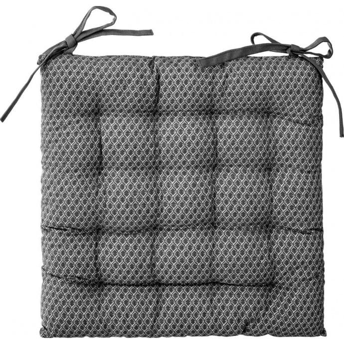 Galette de chaise imprimée et matelassée à nouettes (Gris)