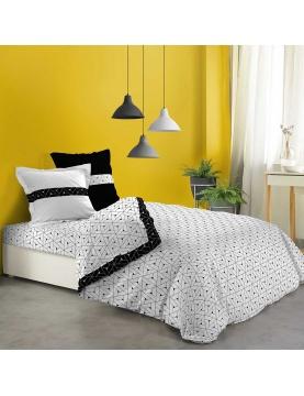 Parure de draps géométrie en noir et blanc