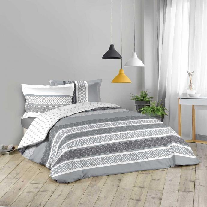 Parure de couette à motifs géométriques blancs et gris (GRIS / BLANC)