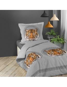 Parure de couette imprimée tête de tigre