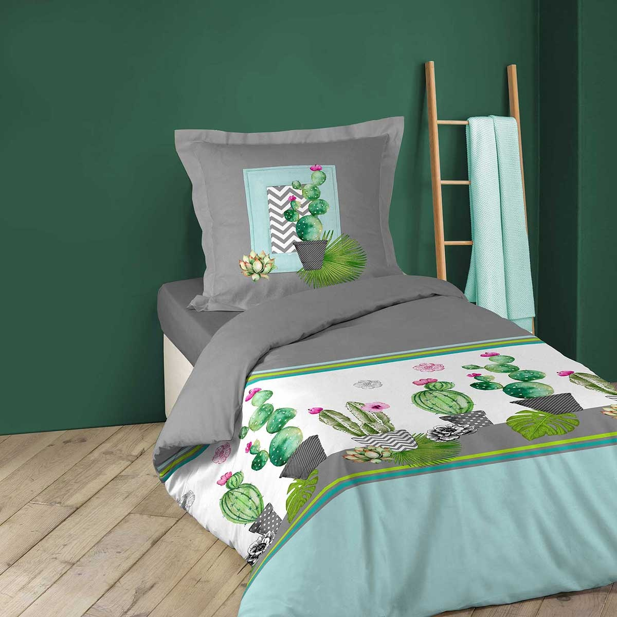parure de couette imprim e cactus multicolore homemaison vente en ligne parures de lit. Black Bedroom Furniture Sets. Home Design Ideas