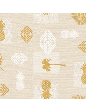 Toile cirée imprimée métallisée ananas et palmiers