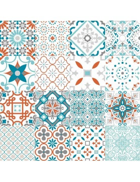 Muletón estampado patchwork geométrico