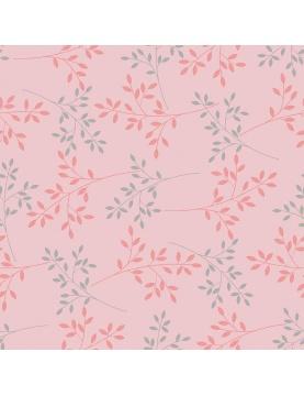 Toile Cirée Métallisée et fleurie (Rose)