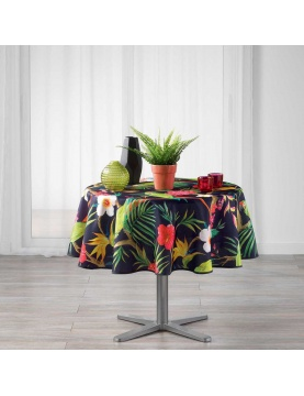 Nappe ronde impressions tropicales