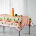 Mantel rectangular estampado frutas y rayas