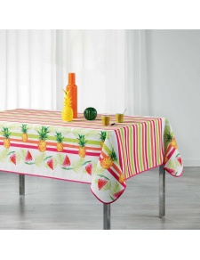 Nappe rectangulaire imprimée fruits et rayures