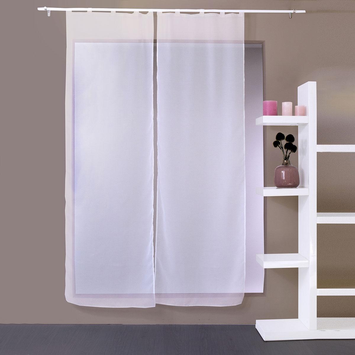 paire de vitrages droits 5 passants blanc homemaison vente en ligne tous les petits voilages. Black Bedroom Furniture Sets. Home Design Ideas