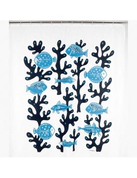 Rideau de douche imprimé algues et poissons bleus