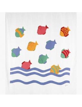 Rideau de douche imprimé poissons colorés