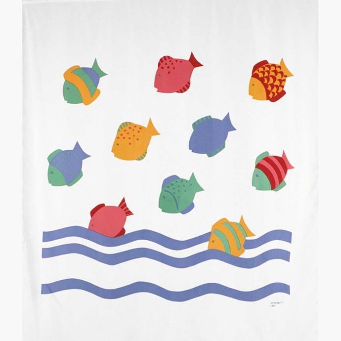 Rideau de douche imprimé poissons colorés ( Multicolore)