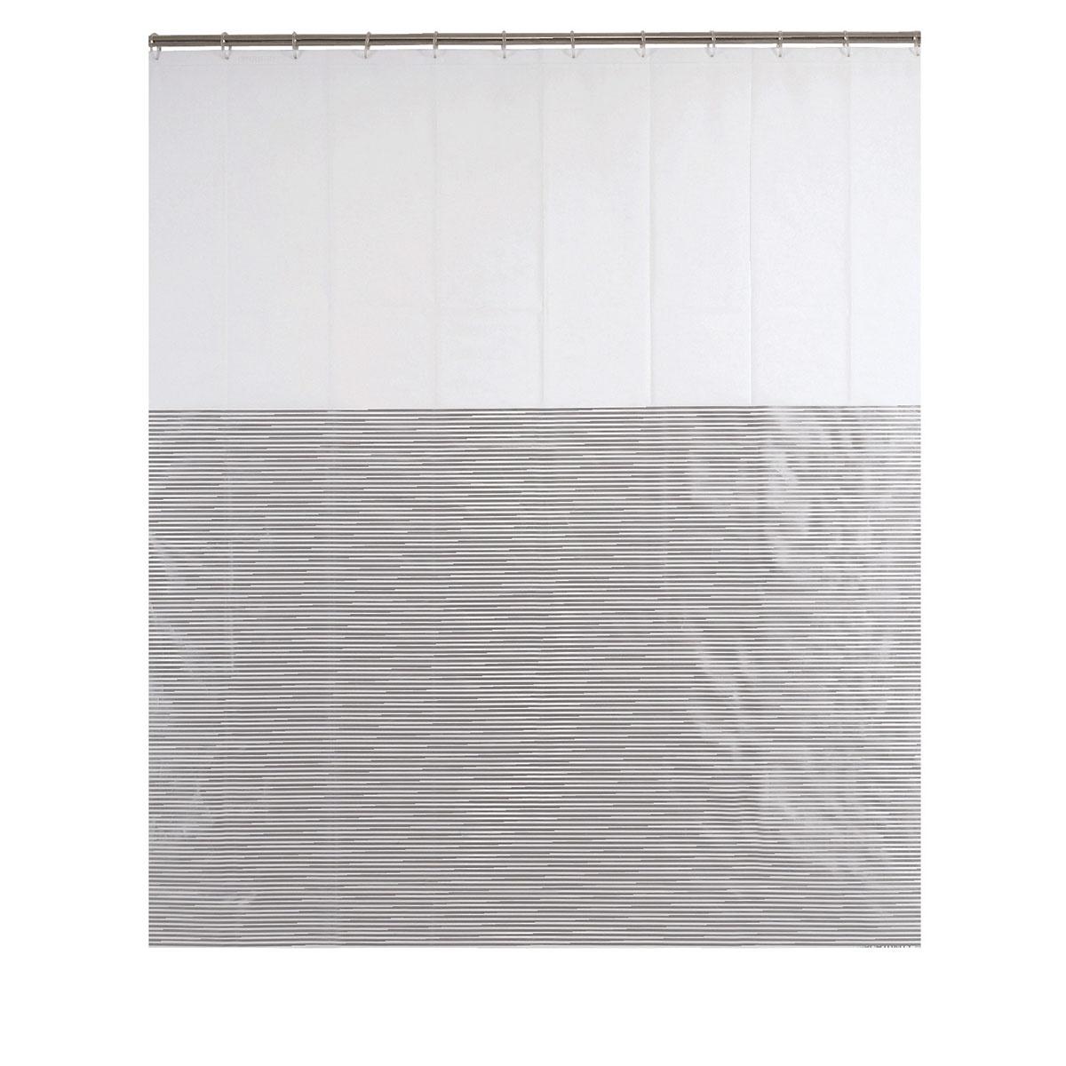Rideau de douche à fines rayures argentées (Blanc Argent)