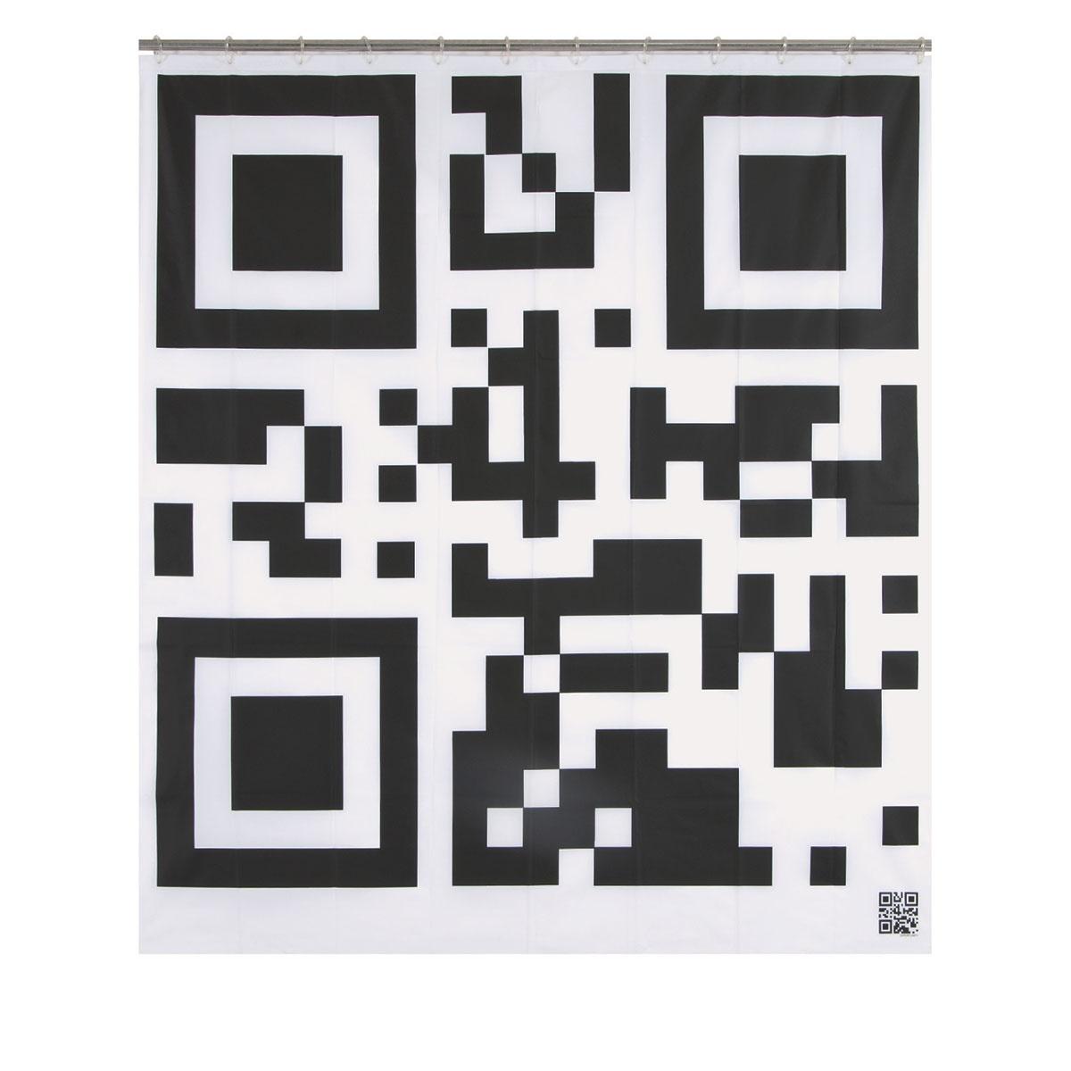 Rideau de douche imprimé flash code (Noir / Blanc)