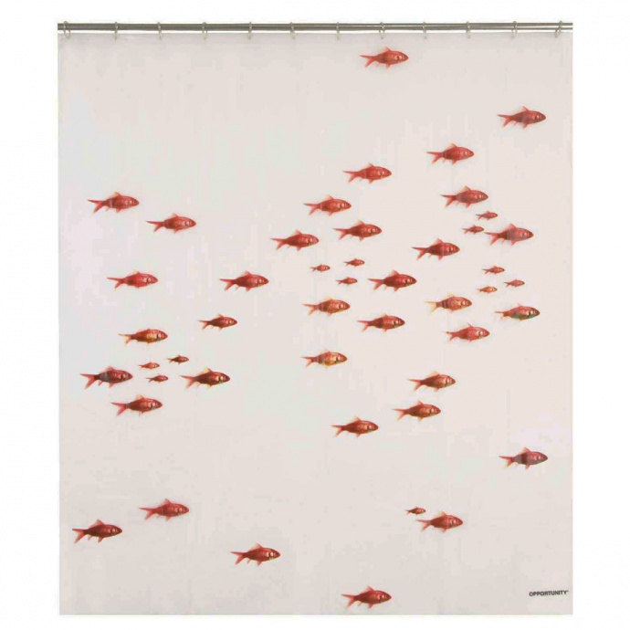 Rideau de douche imprimé poissons rouges (Blanc et rouge)