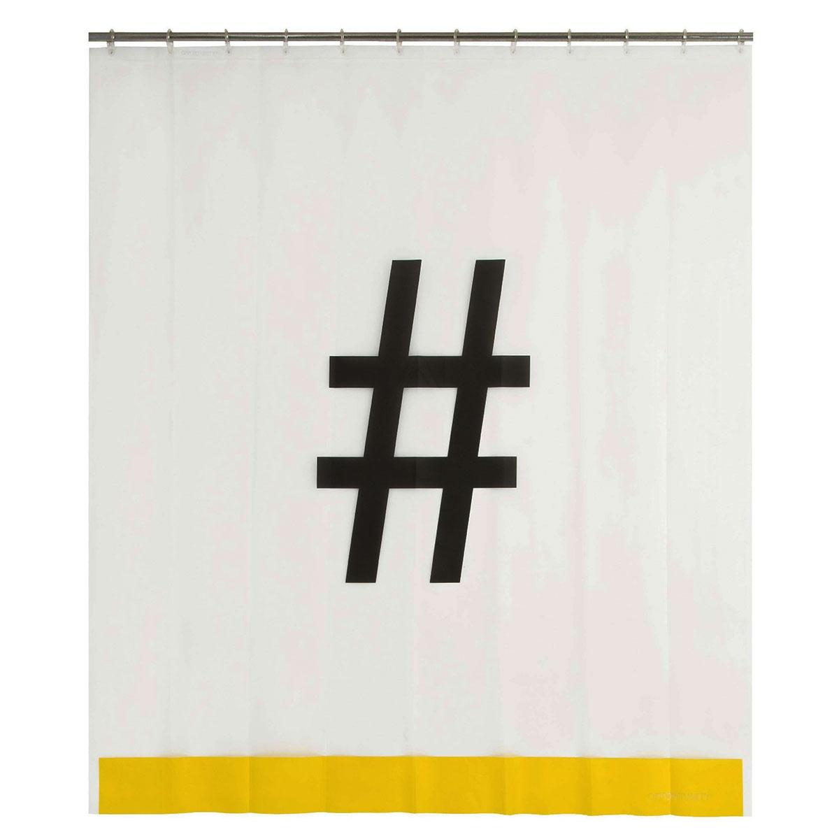Rideau de douche Hashtag (noir et blanc)